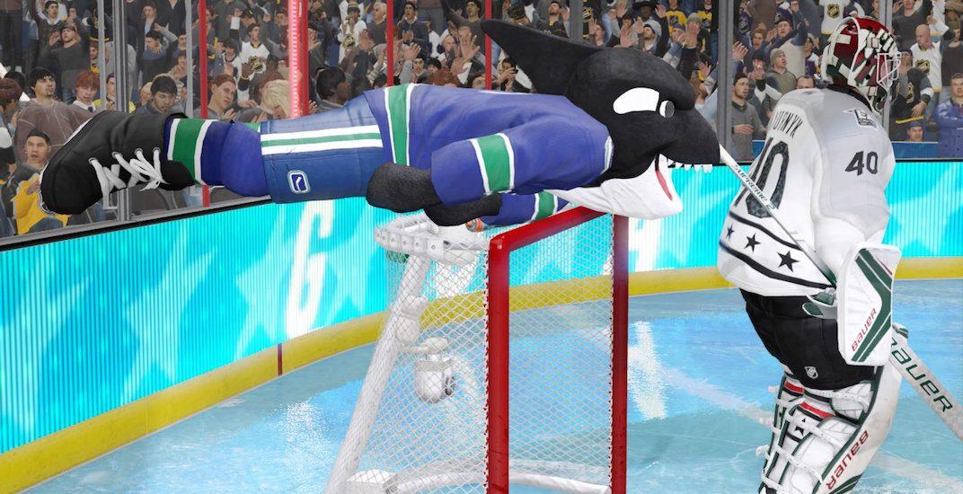 NHL 18 glitch results in hilarious Canucks mascot celebration (VIDEO)