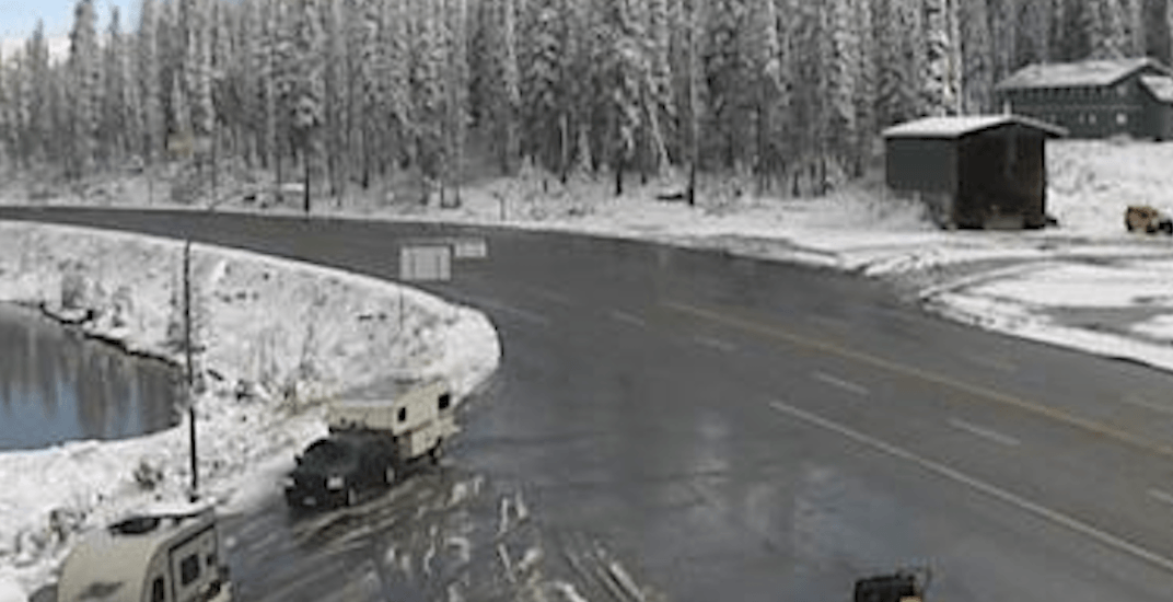 Snow is already sticking to the ground on some BC highways