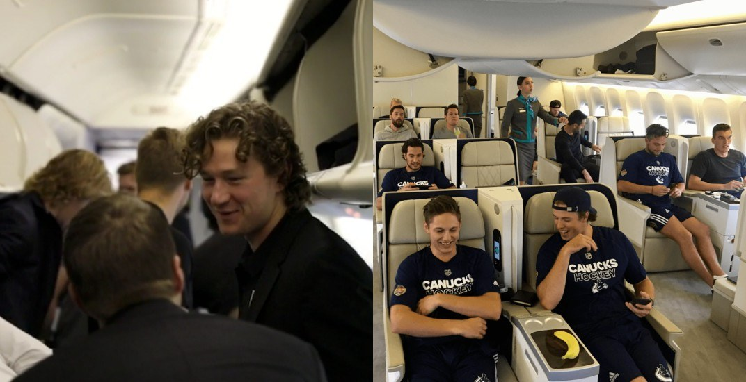 Canucks and Kings had very different flights to China (PHOTOS)