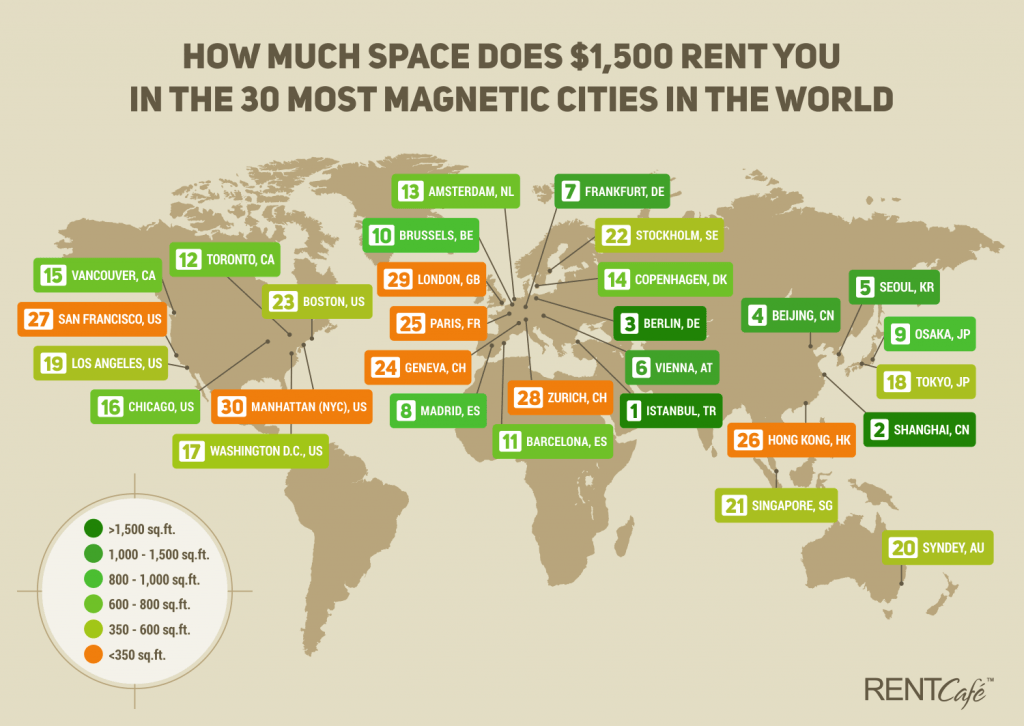 How Rent In Toronto Compares To Major Cities Around The World - Toronto on us map