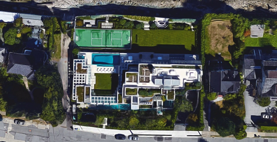 An aerial view of chip wilsons 75 million mansion in vancouver google
