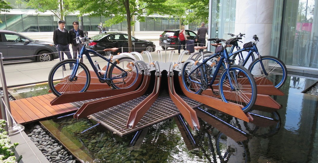 This bike rack in downtown Vancouver is on a continuously revolving carousel (VIDEO)