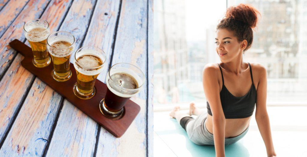 Craft beers and woman doing yoga (MaxyM/Dean Drobot/Shutterstock)