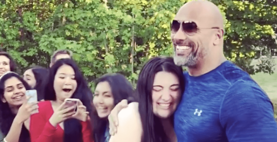 The Rock meets with fans at UBC while filming new movie (VIDEO)