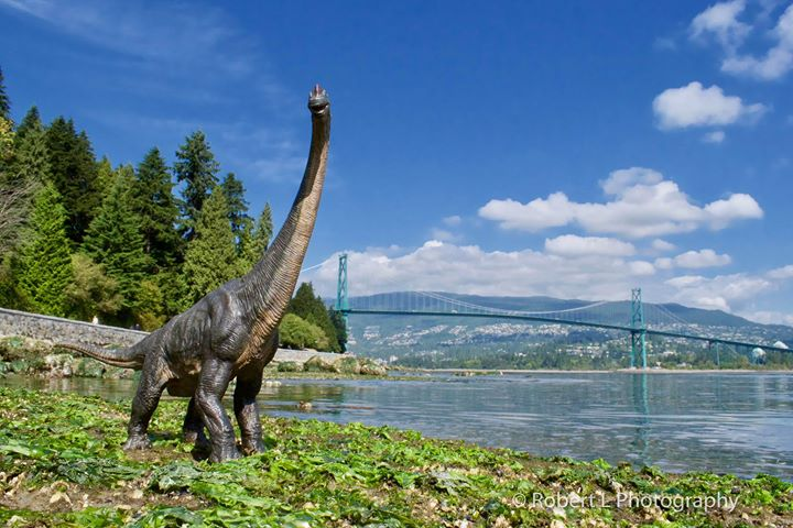 A Sauropod in front of Vancouver's Lions Gate Bridge (Robert L Photography)