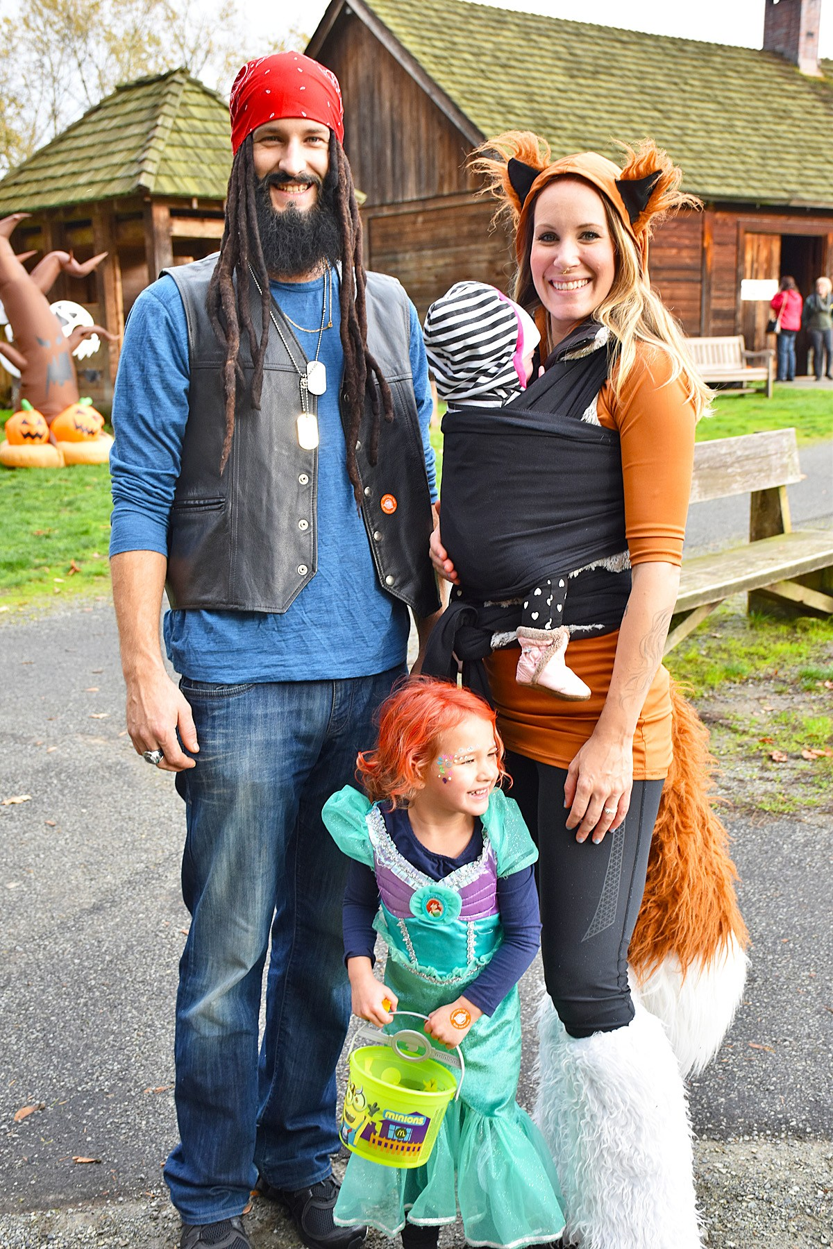 Family at Fort Langley Halloween celebration (Parks Canada)