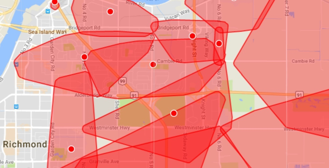 Most of Richmond was in the dark this afternoon due to BC Hydro outage