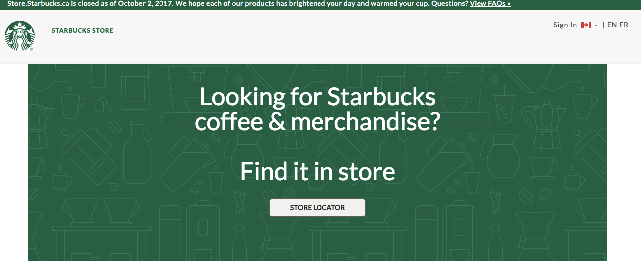starbucks online retail closed