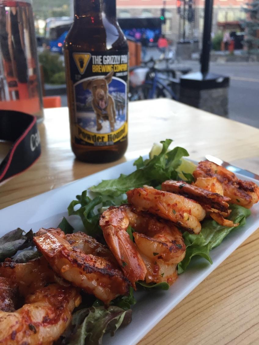 Cajun Spiced Shrimp on the patio at Block Kitchen + Bar (