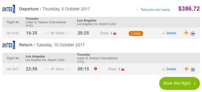 Toronto to Los Angeles