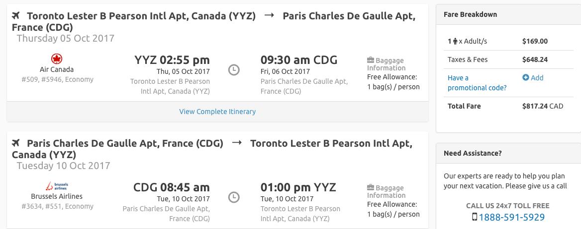 Toronto to Paris