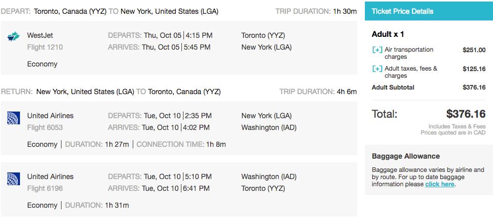 Toronto to New York