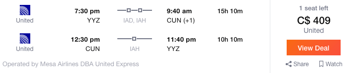 Toronto to Cancun