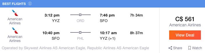 Toronto to San Francisco
