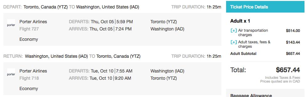 Toronto to Washington