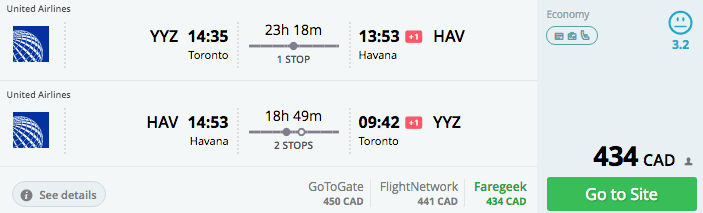 Toronto to Havana