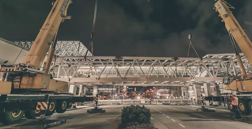 Timelapse of the raising of Commercial-Broadway Station's new pedestrian overpass (VIDEO)