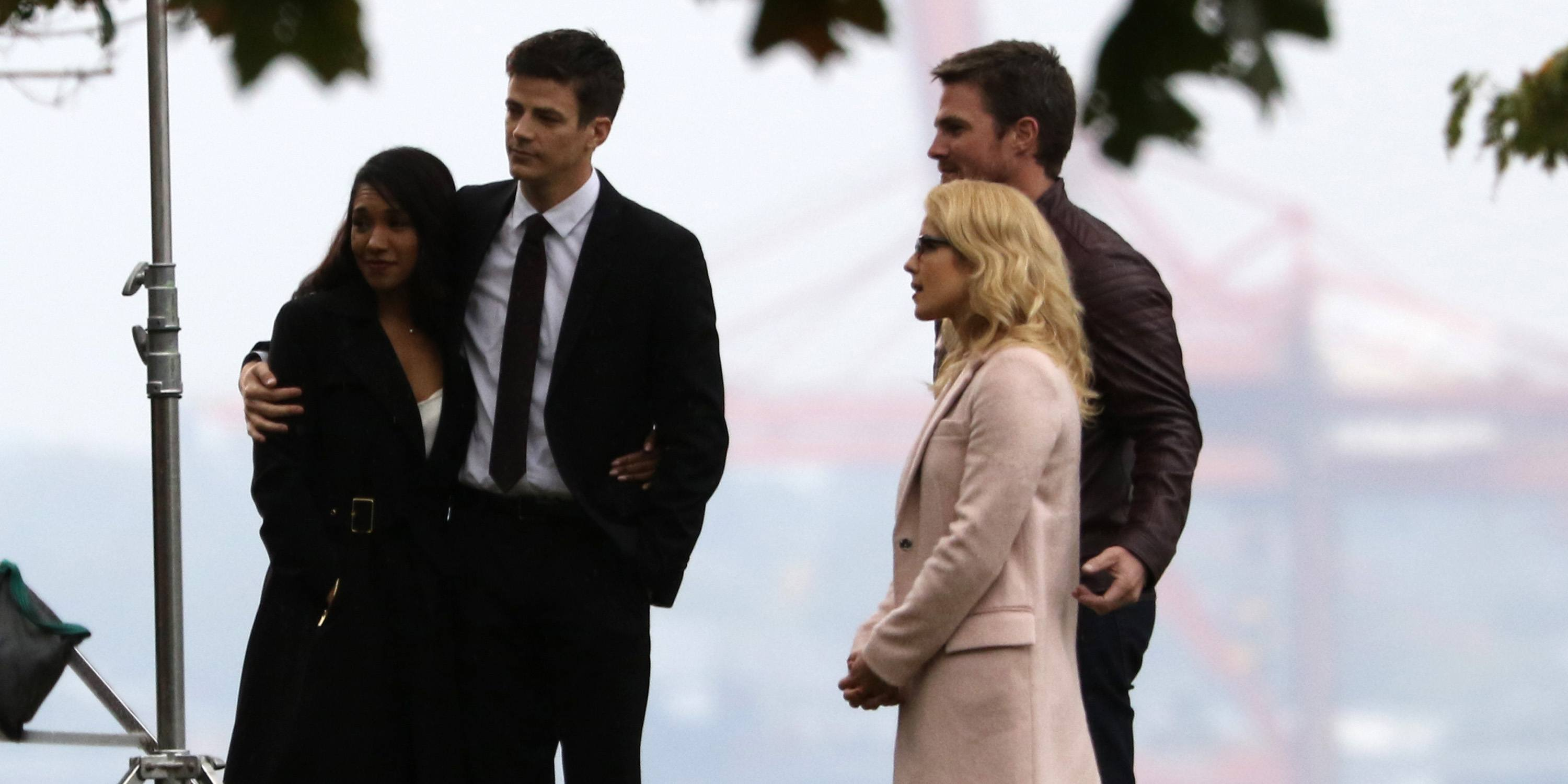 Arrowverse stars spotted gathering on Vancouver set for crossover funeral (PHOTOS)