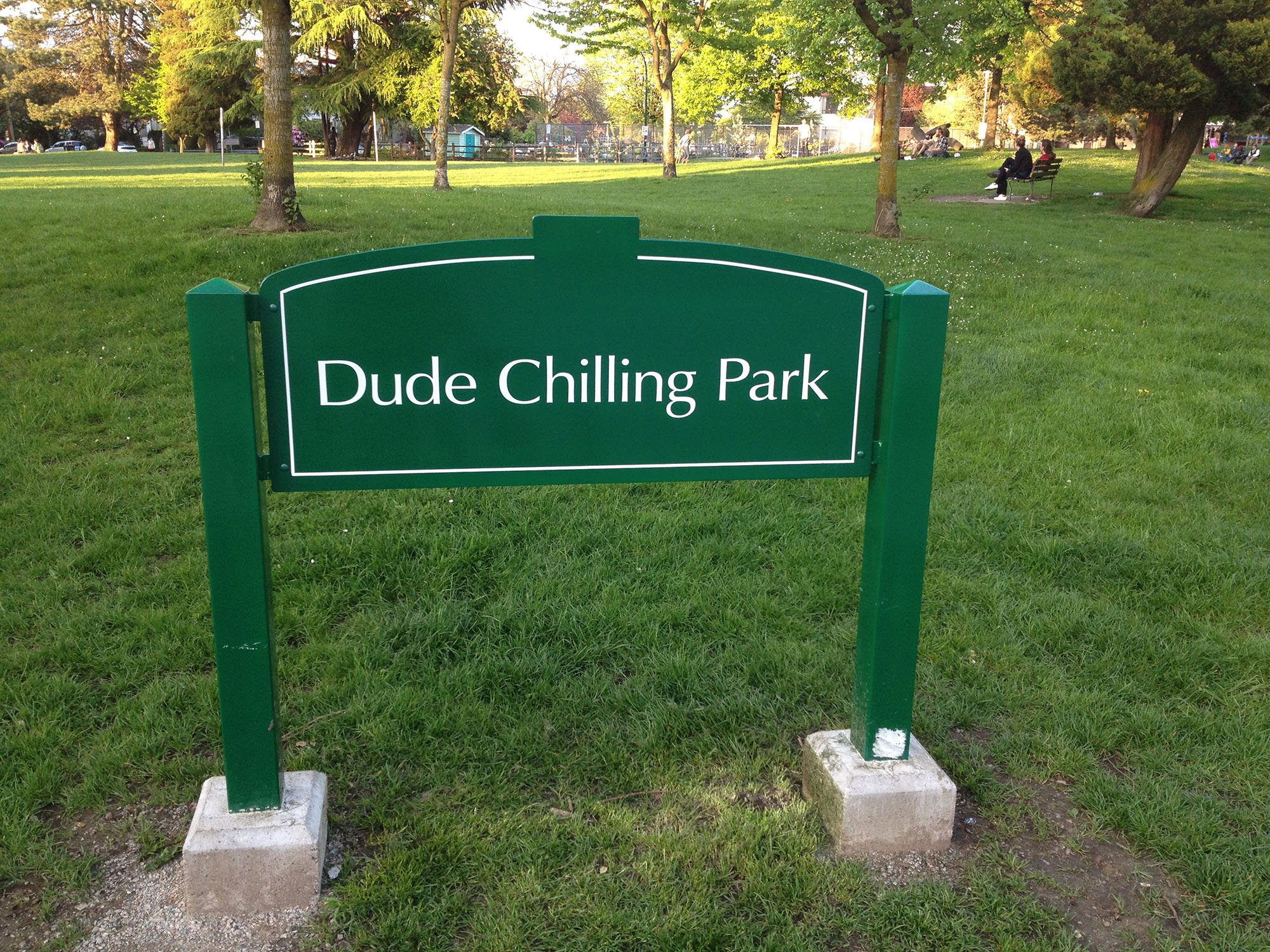 The infamous Dude Chilling Park sign (Mount Pleasant Community Centre Association)