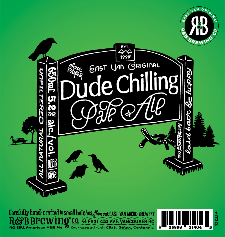 R&B's Dude Chilling Pale Ale beer label (R&B)