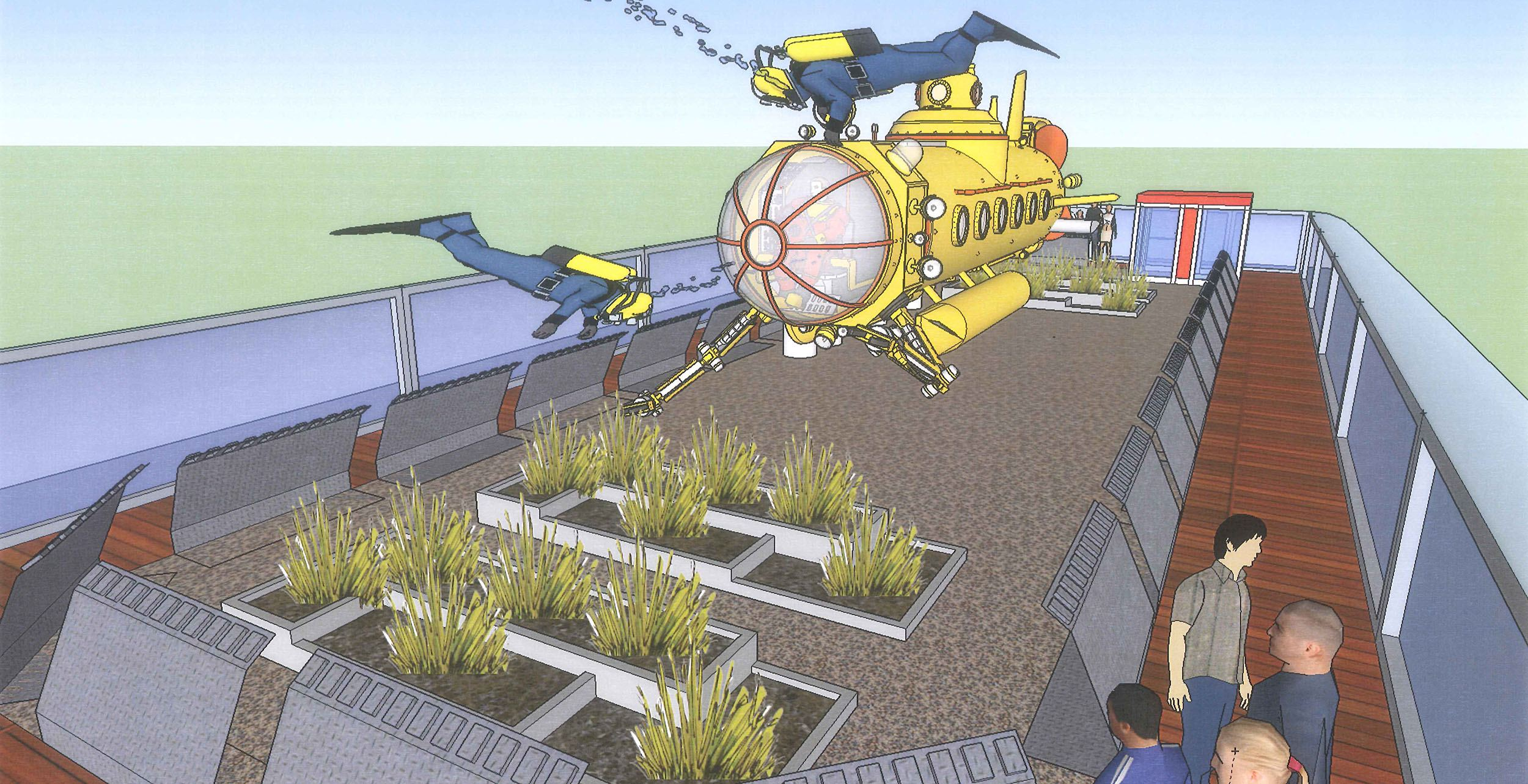 Rendering of the planned rooftop for the new McBarge (New McBarge campaign)
