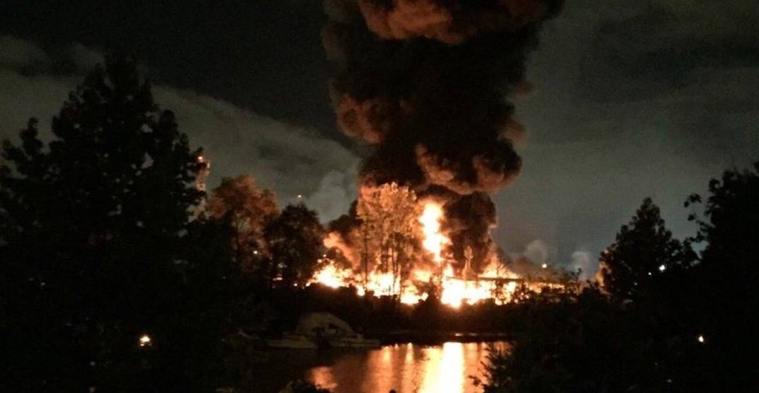 Huge fire engulfs buildings on Mitchell Island in Richmond in 'sporadic explosions' (VIDEO)