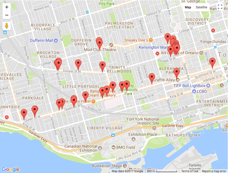 Vintage crawl Toronto Map