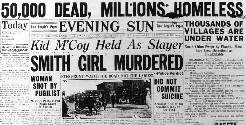 Evening Sun headline declaring Janet Smith's death was the result of foul play, 13 August 1924.