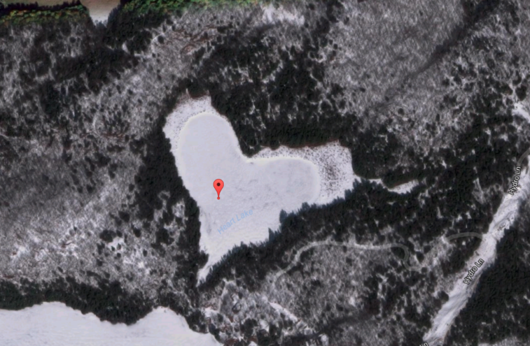 Canada heart shaped lake