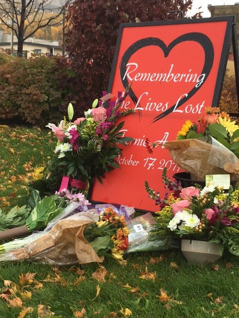 A memorial set up in front of Fernie City Hall in honour of the victims. (City of Fernie/Facebook)