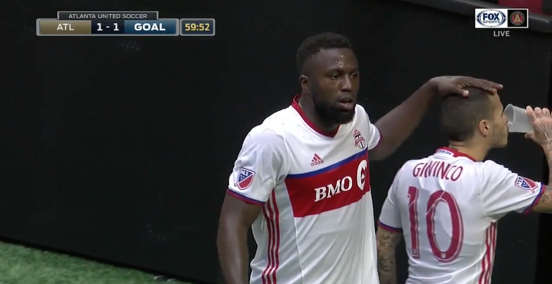 Atlanta fan throws beer on field after TFC goal, Giovinco chugs it and throws it back
