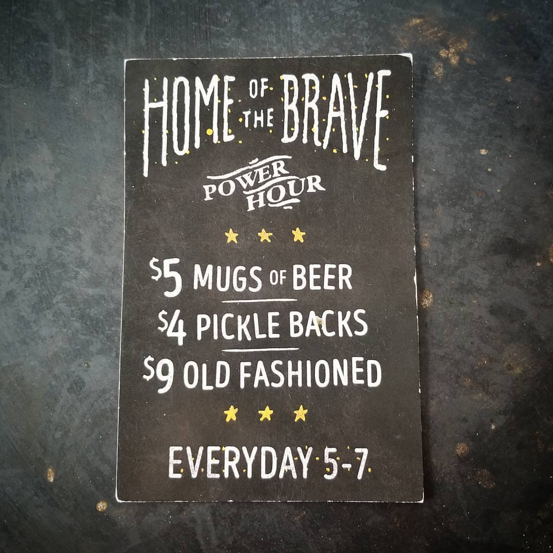 Home of the Brave happy hour drink specials