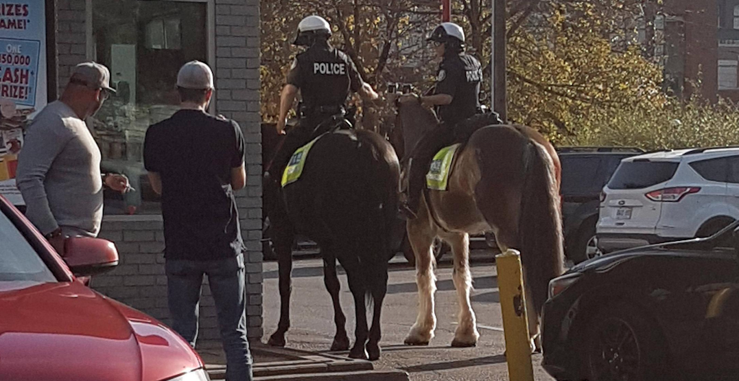 Spotted: Toronto police officers go to McDonald's drive-thru... on horses
