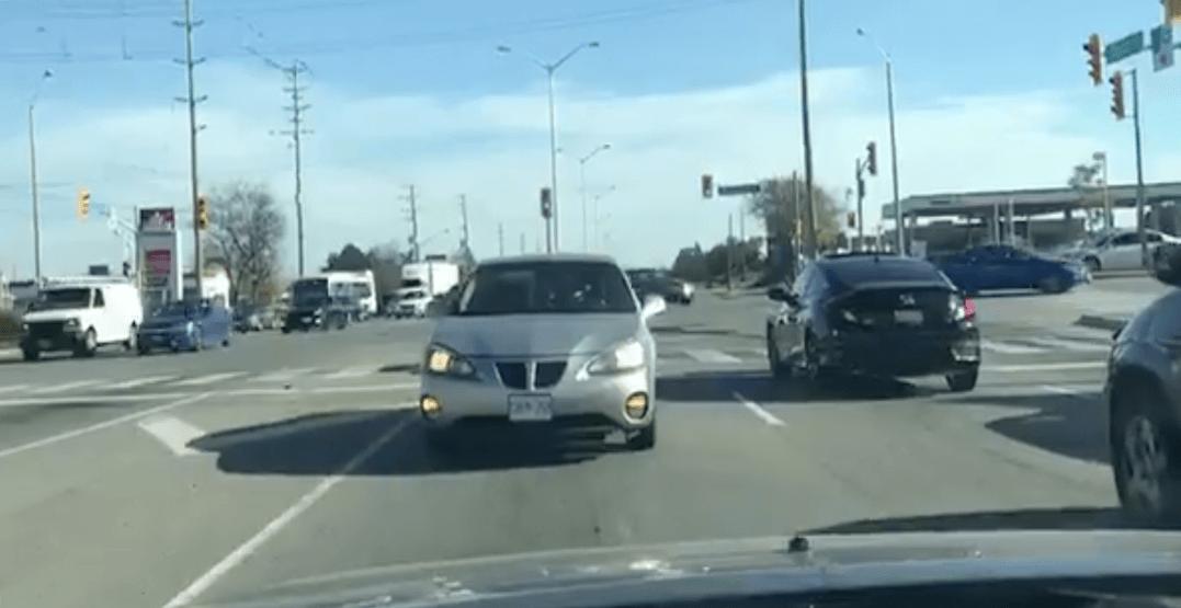 Video shows car speeding backwards along busy GTA street