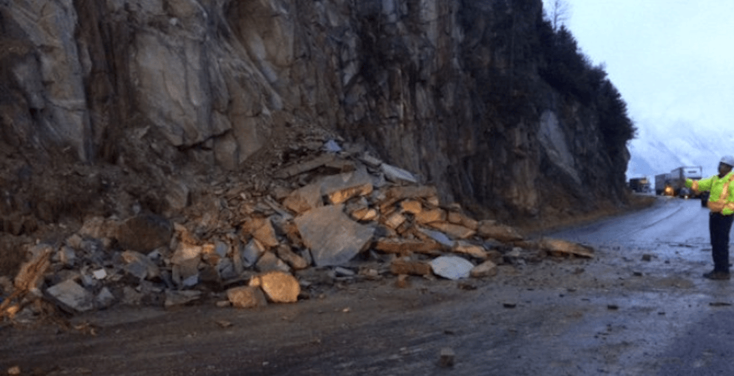A rockslide has closed Highway 1 between Revelstoke and Golden