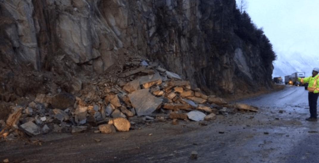 A rockslide has closed Highway 1 between Revelstoke and Golden