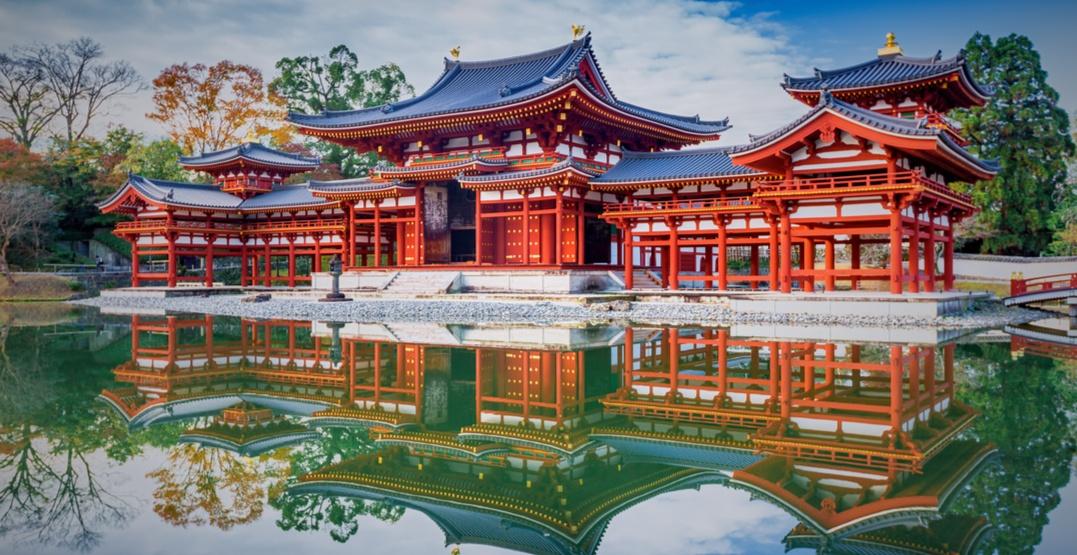 Byodo in buddhist temple in kyoto japan bule sky studioshutterstock