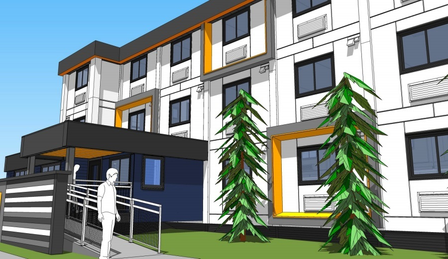 Artistic rendering of the modular housing complex at 650 West 57th Avenue  at the Pearson-Dogwood site in Vancouver. (Horizon North)