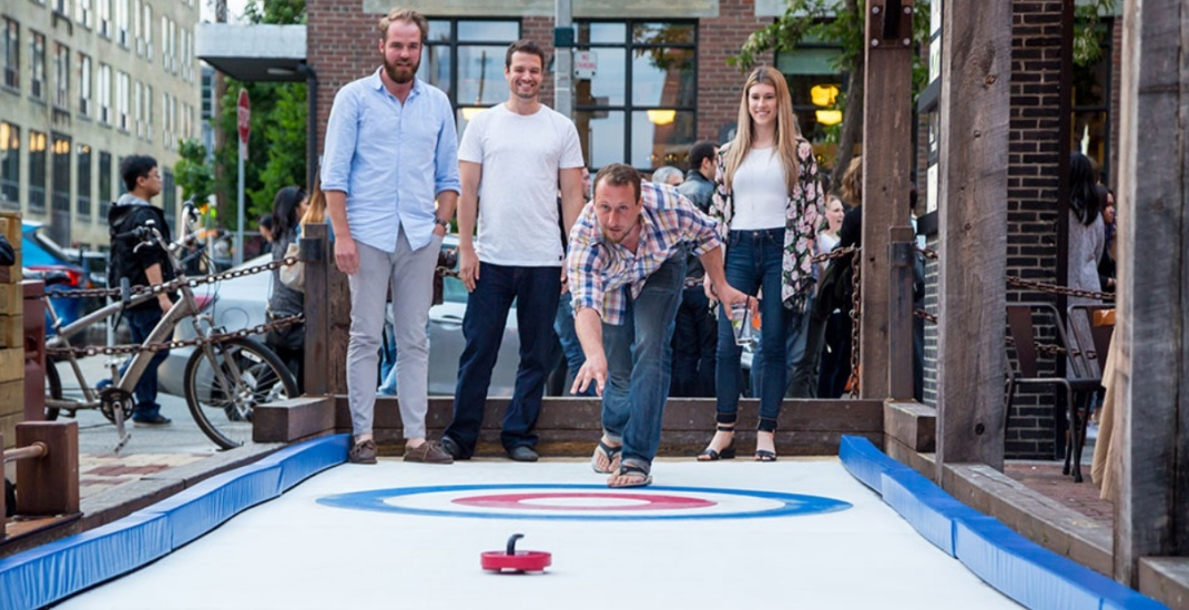 This Toronto cafe just installed a curling rink on their patio