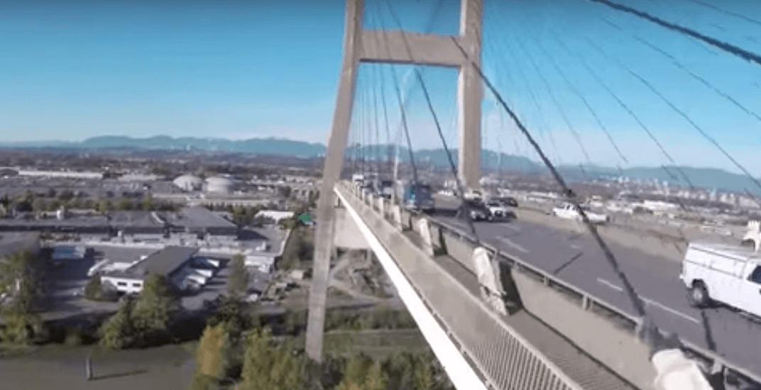 Recreational drone flight near Alex Fraser Bridge may be illegal (VIDEO)