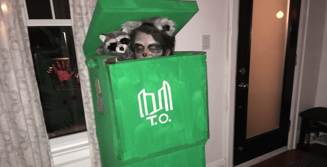 Someone dressed up as a Toronto raccoon in a green bin for Halloween