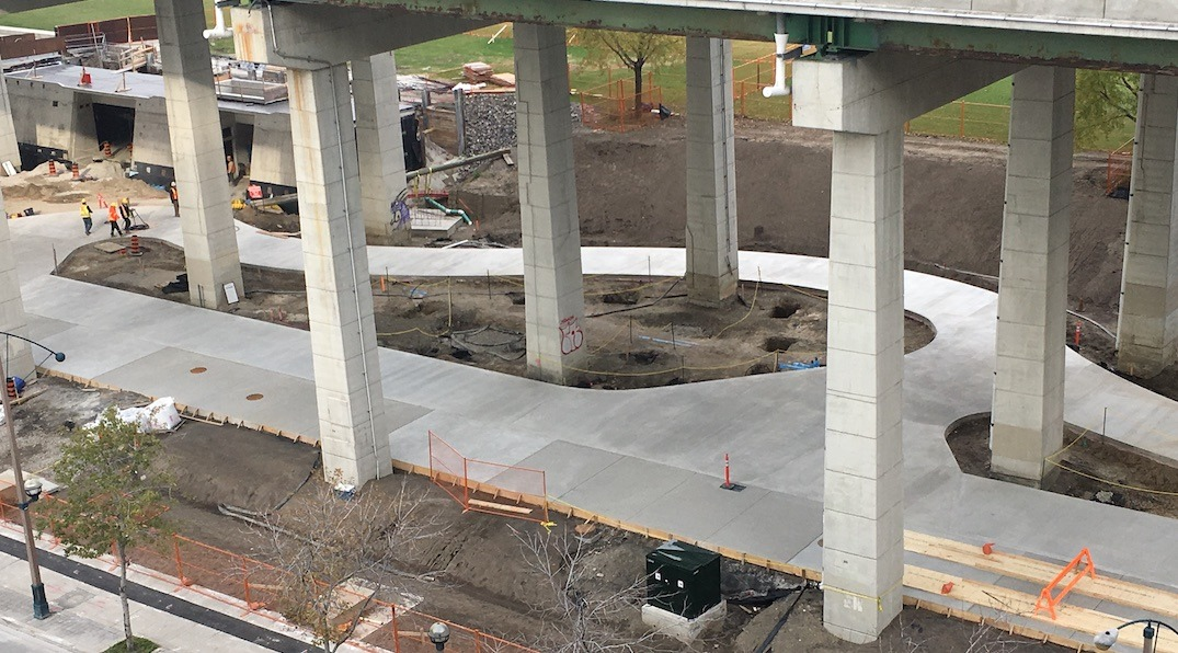 New photos show Toronto's underpass skating rink coming together
