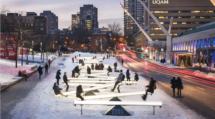 Place Des Festivals is turning into a light-up winter playground this holiday season