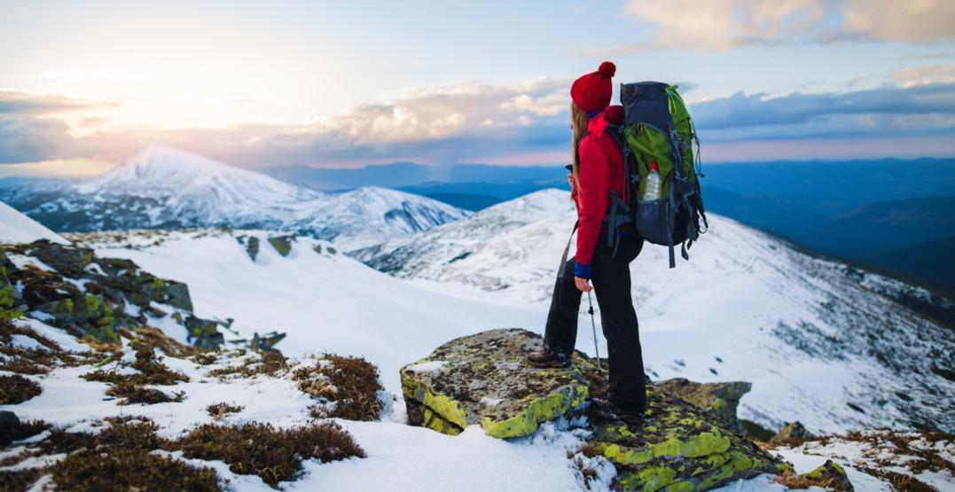 Woman hiking in winter shutterstock