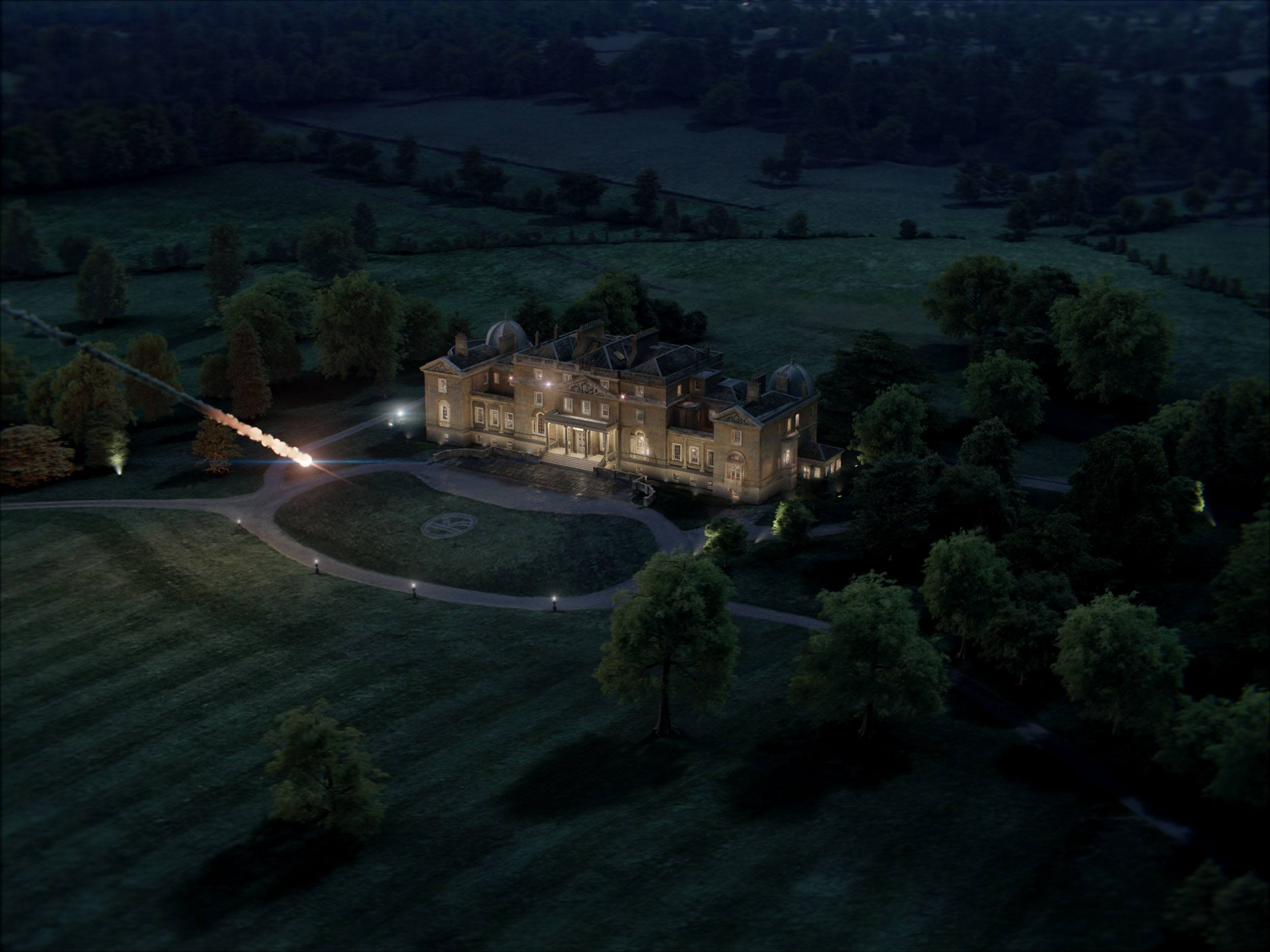 The nuclear missile approaching the Kingsman HQ mansion in Kingsman: The Golden Circle (Sony Pictures Imageworks)