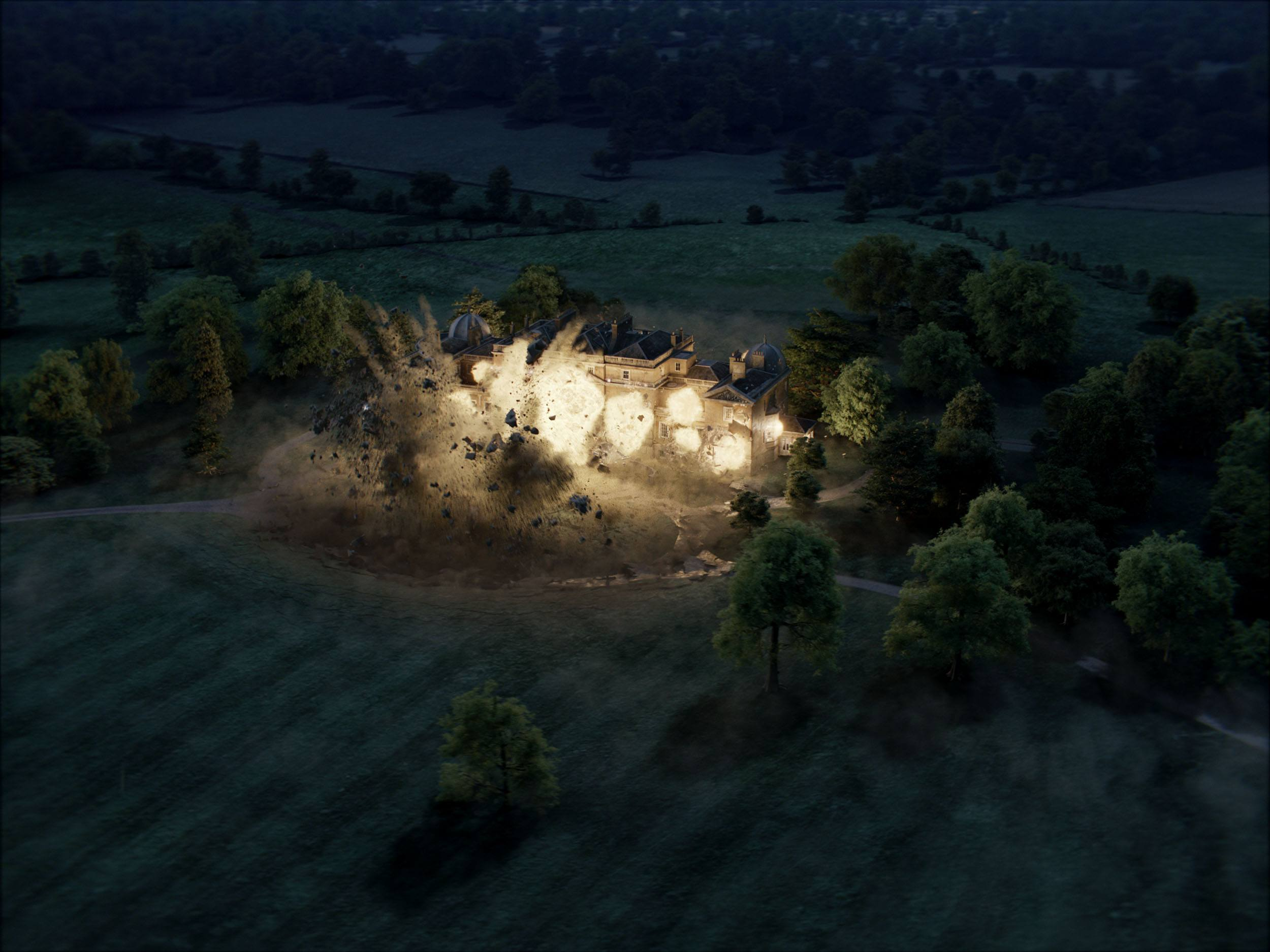 The Kingsman HQ mansion exploding in Kingsman The Golden Circle (Sony Pictures Imageworks)