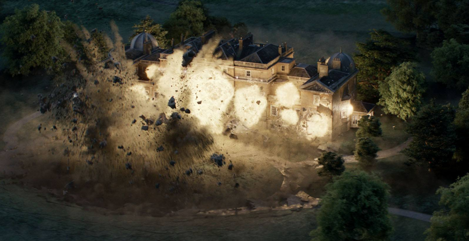 The kingsman hq mansion exploding in kingsman the golden circle sony pictures imageworks