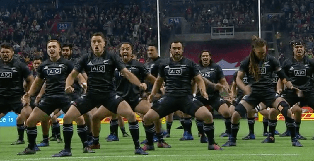 Maori All Blacks rugby team performs world famous Haka at BC Place (VIDEO)