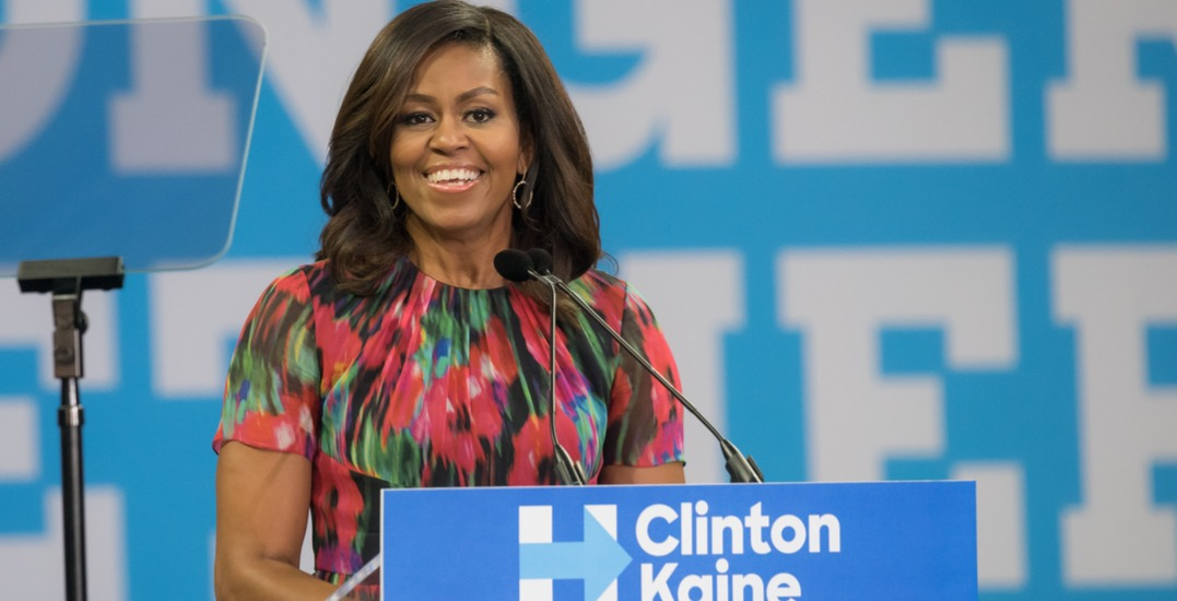 Michelle Obama is speaking in Toronto today