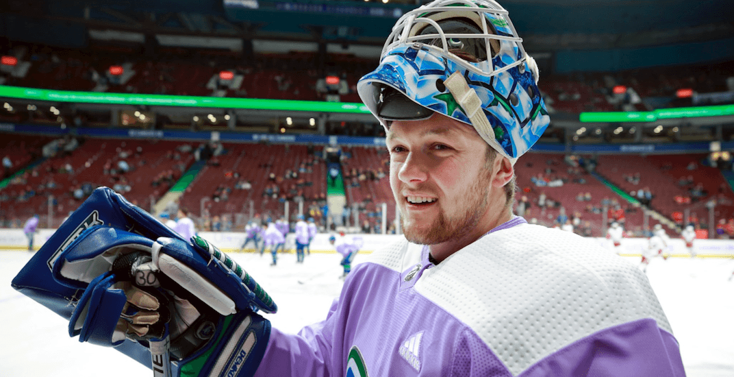 Canucks goalie Thatcher Demko races to rink after last minute call up